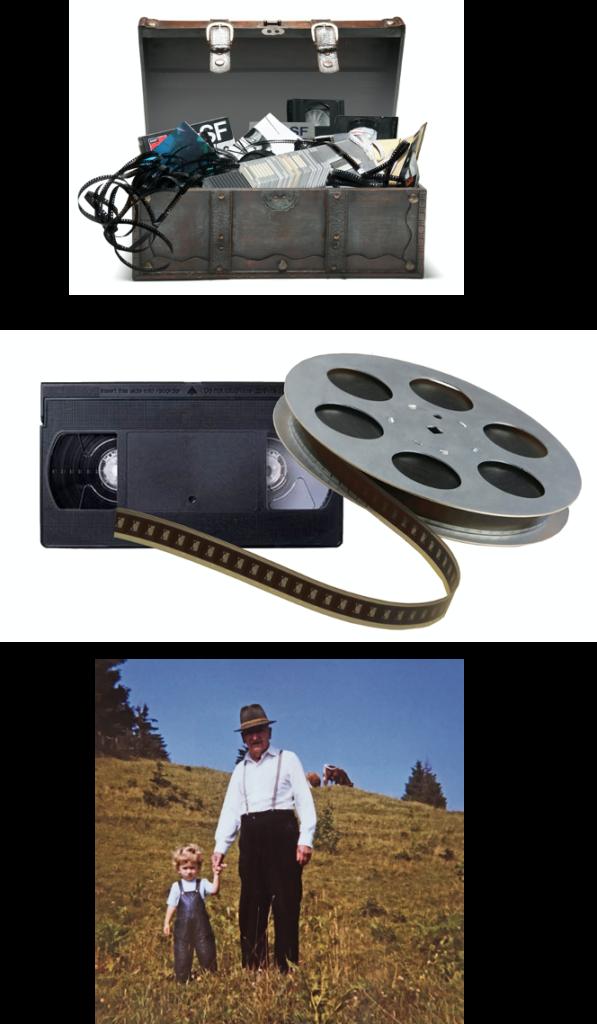 schatzkiste alte truhe mit analogen filmen videos dias fotos