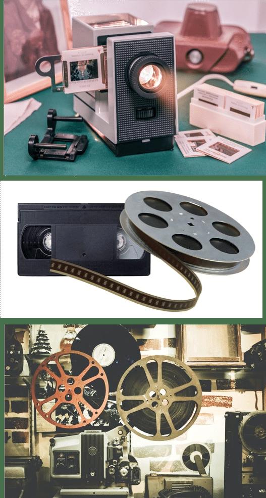 dias und dia-projektor mit vhs kassette und filmspule und filmprojektor