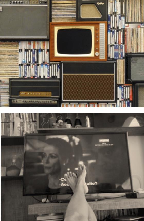 analoger tv schirm auf regal mit DVDs und Schallplatten und Blockbuster Radio
